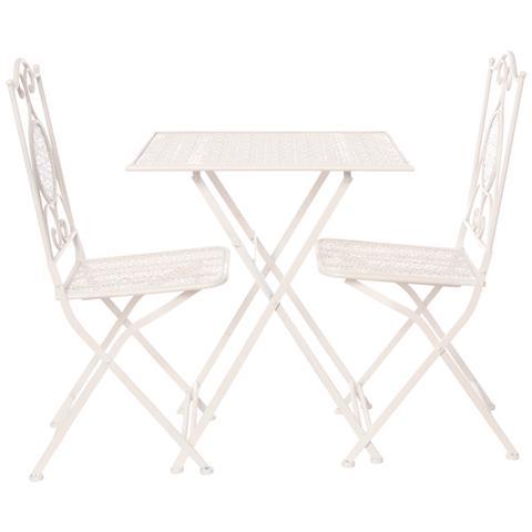 Set Tavolo Con 2 Sedie Pieghevoli, In Ferro Bianco
