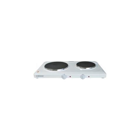 Doppia Piastra di Cottura Fornello Elettrico Potenza 1000 + 1500 Watt Colore Bianco