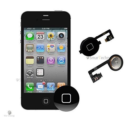 Smartechnology Home Button Per Apple Iphone 4s Nero Tasto Accensione Con Flat Flex Ricambio Completo