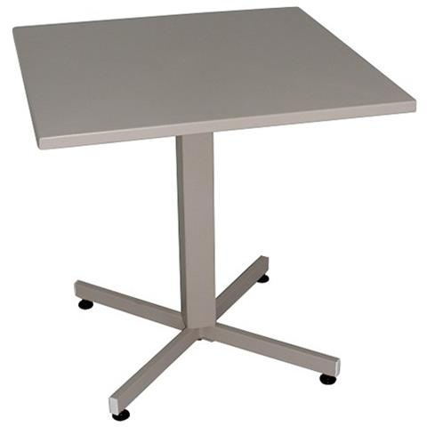 Set Tavolo Giardino Quadrato Fisso 70 X 70 Con 2 Poltrone In Ferro Tortora Per Esterno
