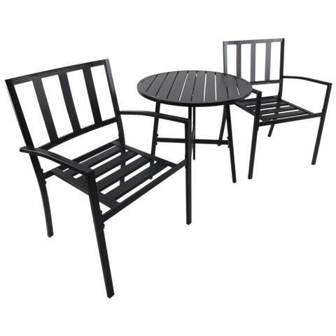 Set Tavolino E Sedie Da Giardino In Metallo, Nero, Ø70x95cm