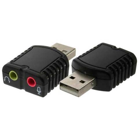 INLINE 33051D, USB A, 2x3.5mm, Maschio / femmina, Nero, Windows 98SE, Linux, MAC OS 10.5. x