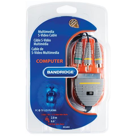 BANDRIDGE BVL6802, 2m, S-Video (4-pin) + 3.5mm, SCART (21-pin)