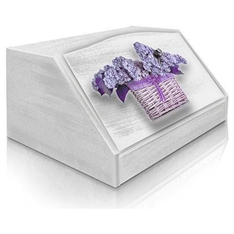 Lupia Portapane Con Decoro In 'flower Violet' In Legno White Dalle Dimensioni Di 30x40x20 Cm