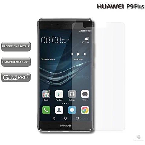 """Smartechnology Pellicola Vetro Temperato Per Huawei P9 Plus 5,5"""""""" Trasparente Clear Protezione Display Schermo Touch Screen Infrangibile"""