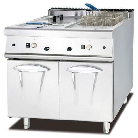 Friggitrice Inox Professionale 2 Vasche Da Litri Lt 28+28 A Gas Dim. Cm80x90x94