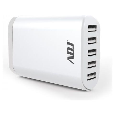 ADJ Alimentatore universale per Tablet / smartphone ADJ casa / ufficio ADJ AI05 mantiene il voltaggio costante e consente di ricaricare 5 dispositivi contemporaneamente Col. Bianco
