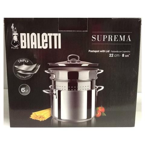 Bialetti Pastarella Con Cestello E Coperchio Suprema Lt 6 Cm 22 - 0c7ps022
