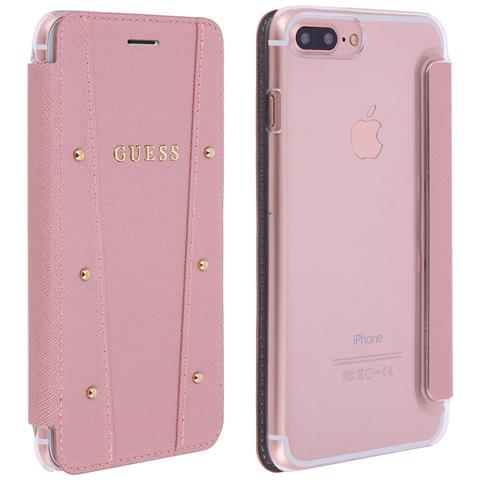 GUESS - Custodia Iphone 8 Plus   7 Plus Portafoglio Borchiette Tonde By  Guess - Rosa b94d626077f2