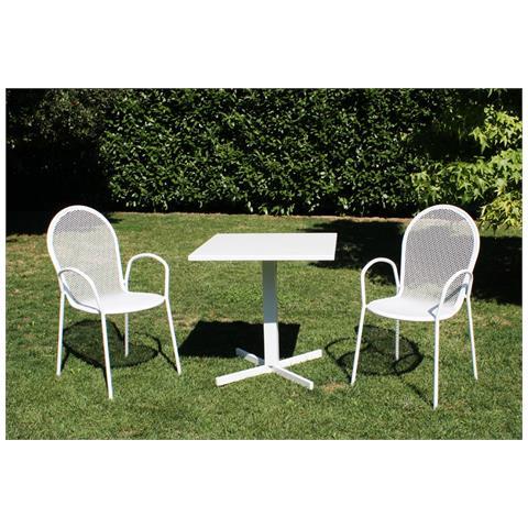 Image of Set Tavolo Giardino Quadrato Fisso 70 X 70 Con 2 Poltrone In Ferro Bianco Per Esterno