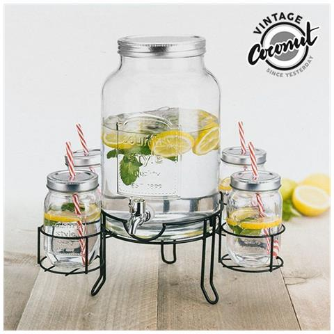 Dispenser Di Bevande Con 4 Bicchieri Vintage Coconut V0201175
