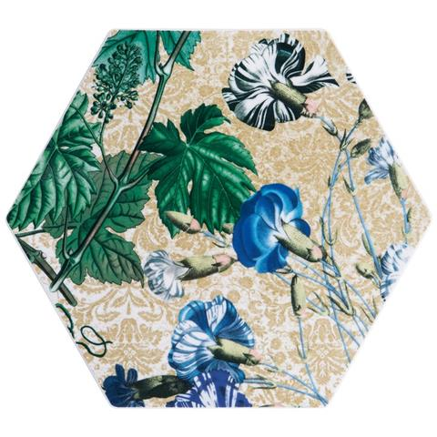 Porcellana Esagono Cm 31x27 H. 8,5 Kyma Florilegium