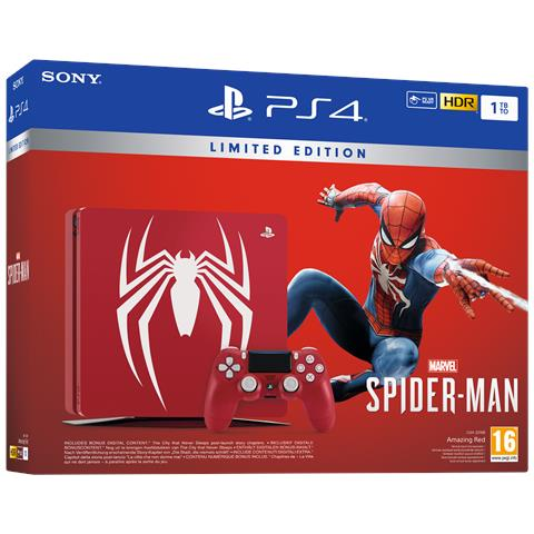 Image of Console Playstation 4 1 TB Slim + Marvel's Spider-Man Amazing Red Limited Edition