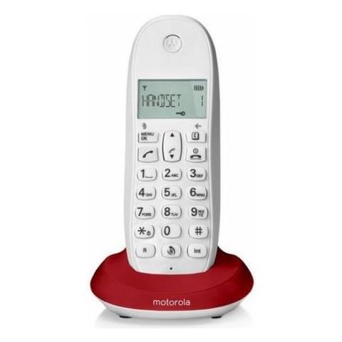 MOTOROLA Telefono Cordless Dect con Identificativo Chiamante Colore Bianco / Rosso