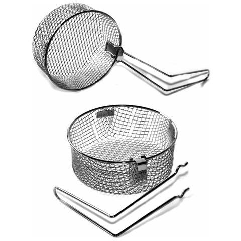 Cesto Cestino Rete In Acciaio 18cm Tondo Padella Per Friggitrice Con Manico Per Frittura Patate Chips Cipolle Basket