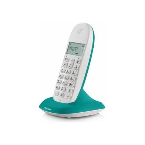 MOTOROLA Telefono Cordless Dect con Identificativo Chiamante Colore Bianco / Turchese