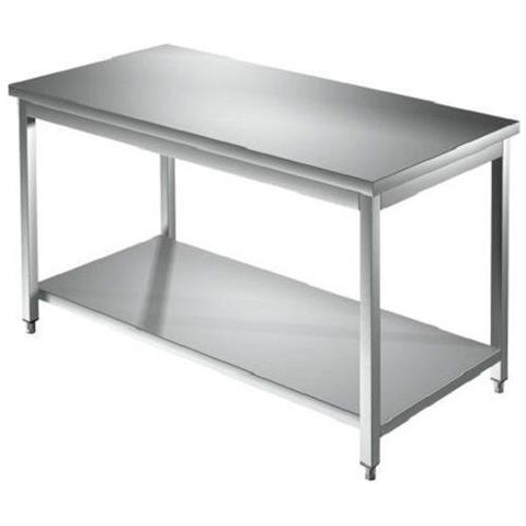 Tavolo 140x80x85 Acciaio Inox 304 Su Gambe Ripiano Cucina Ristorante Rs5581