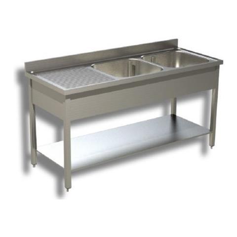 Lavello 140x60x85 Acciaio Inox 430 Su Gambe Ripiano Cucina Ristorante Rs4694