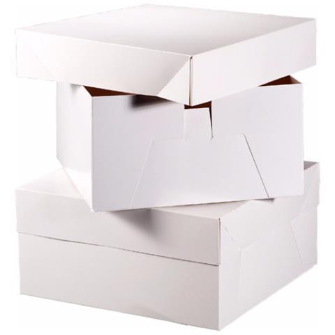 Scatole Per Torte Quadrate (confezione Da 10) (25 Cm) (bianco)