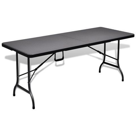 Tavolo Da Giardino Pieghevole In Hdpe Nero Imitazione Rattan 180 Cm
