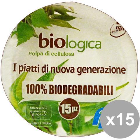 GNP Set 15 Piatti Cellulosa Biodegradabile Piani X 15 Pezzi Piatti