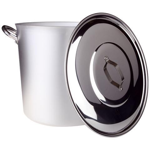 AGNELLI Pentola Piccola Comunita' Maniglie E Ponticello Alluminio (compreso Coperchio) - Diametro Cm 40 - Altezza Cm 38-capacità Lt 48