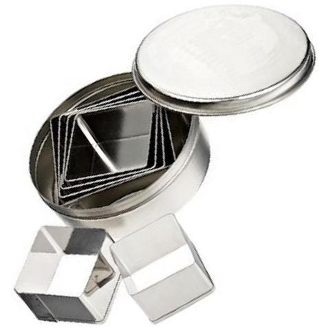 Set 6 Coppapasta In Metallo Quadrati Lisci Pavoni