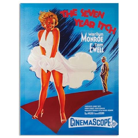 Homania Locandina Su Tela 50 X 70 Di Marilyn Monroe The Seven Year Itch
