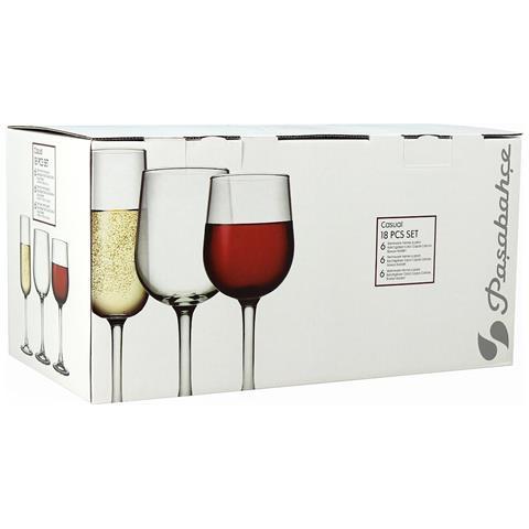 Set Servizio Bicchieri Di Vetro Trasparente 18 Pezzi Flute Ballon Calice Vino