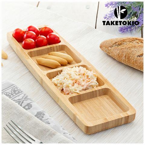 Vassoio In Bambù Con 4 Scomparti Taketokio