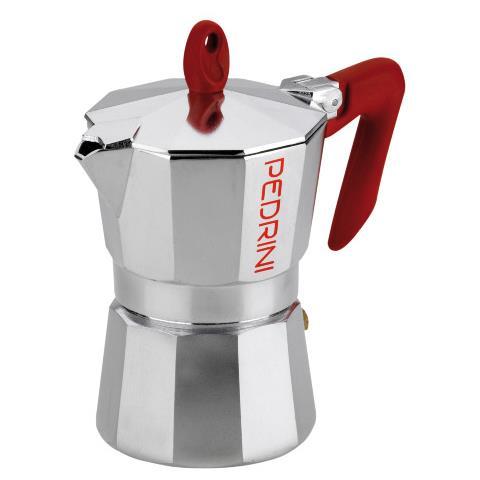 Caffettiera con Manico Rosso 3 Tazze – Modello Briliant