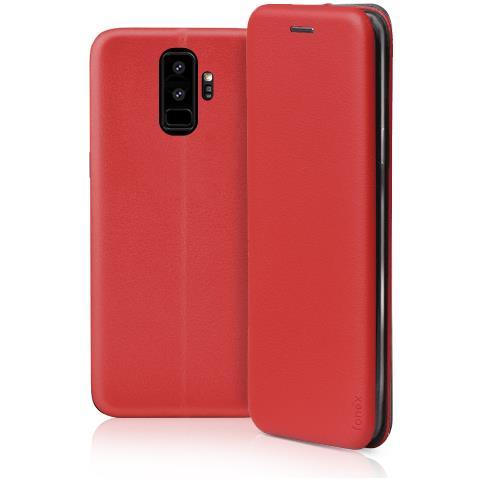 FONEX Profile Book Custodia a Libro per Samsung Galaxy S9 + Colore Rosso