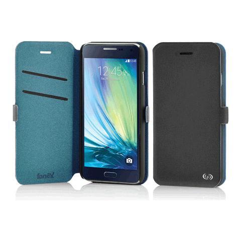 FONEX Elegance Book Custodia a Libro per Galaxy A5 Bicolore Grigio Scuro / Blu