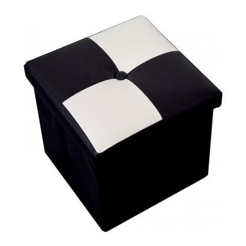Mobili Rebecca Puff Sgabello Baule Bianco Nero Cubo Design Arredamento Moderno Salotto Camera